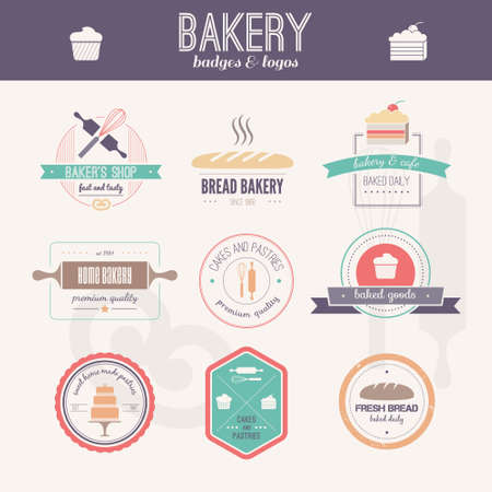 Set of vector bakery . Bread and pasteries labels, badges and design elements. Fresh baked goods. Illustration