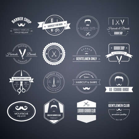 barber: Perfect set of barber and haircut icons. Mens haircuts icon collection made in vector. Badges, labels and design elements. Illustration