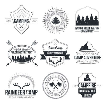 outdoor: Set of vintage camping and outdoor activity logos. Vector logotypes and badges with forest, trees, mountain, campfire, tent, antlers.