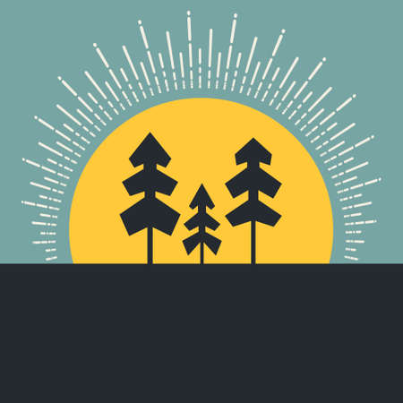 overlook: Modern concept of outdoor - forest and sunrise made in vector. Trees and sun, natural template for your design.