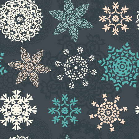 Christmas seamless pattern with ornamental snowflakes made in vector. Xmas texture. Graphical holiday background for invitations. Vector