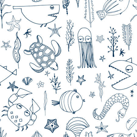 Cute hand drawn seamless pattern with water creatures made in vector. Underwater life texture. Fish, turtle, starfish, crab, shark, octopus.  イラスト・ベクター素材