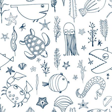 귀여운 손으로 그린 벡터에서 만든 물 생물 원활한 패턴을 그렸다. 수 중 생활 텍스처입니다. 물고기, 거북이, 불가사리, 게, 상어, 문어.