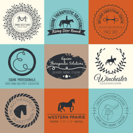 ranches: Equine vintage vector logo. Perfect horse related business symbols with antique texture. Premium quality ranch or equestrian business logotype.