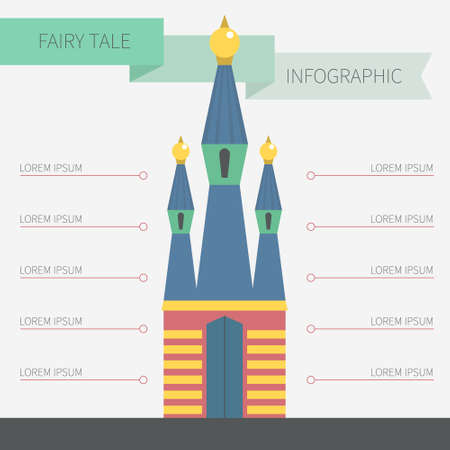 Fairytale infographic - building with data elements for your design about arhitecture, real estate or building. Vector card template with castle for your text. Vector