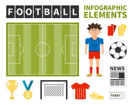 Voetbal infographic elementen - voetballer, bal, doel, krant, medaille, veld gemaakt in vector. Voetbalkampioenschap elementen voor uw infographic of ontwerp - gemakkelijk te bewerken.