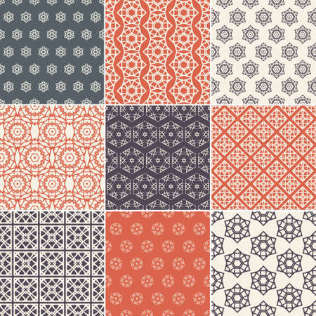 Set of nine vector seamless geometrical patterns. Vintage textures. Decorative background for cards, invitations, web design. Retro digital paper. Vector