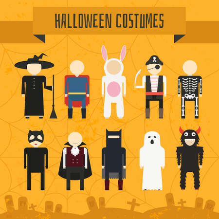 Illustration of popular halloween costumes, including vampire, rabbit, superhero, pirate, skeleton, monster, witch. Vector halloween illustration. Vector
