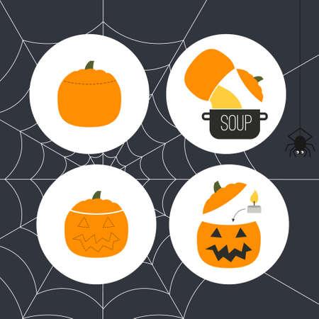 How to make Jack-OLantern - main symbl of halloween. Halloween pumpkin DIY instrutions maed in flat styled vector. Vector