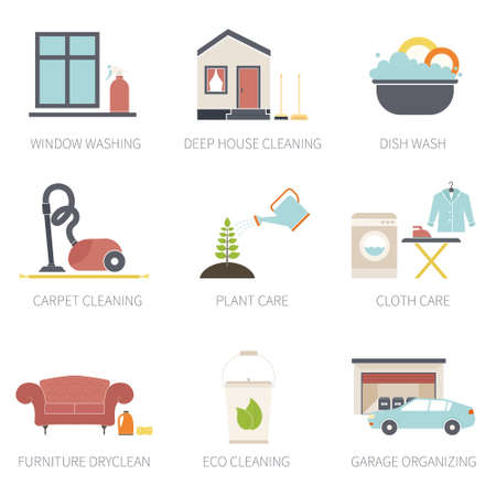 House cleaning vector - ironing, dish wash, vacuum cleaning, plant care, furniture dry-clean, window treatment.