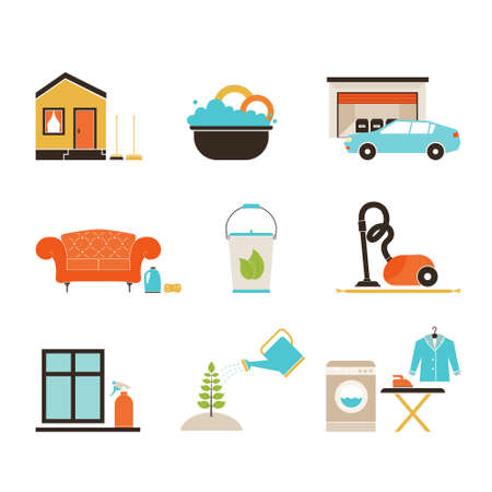 household chores: House cleaning vector - ironing, dish wash, vacuum cleaning, plant care, furniture dry-clean, window treatment.