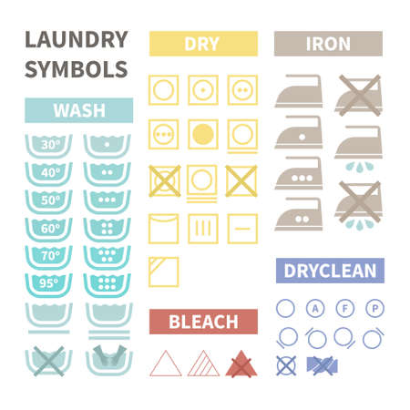branqueamento: Plano conjunto de �cones de lavandaria. Etiquetas de pano perfeitas feitas em estilo moderno. Instru��es para a roupa para diferentes tipos de t�xteis. Engomar, lavar a m�o, temperatura de servi�o.