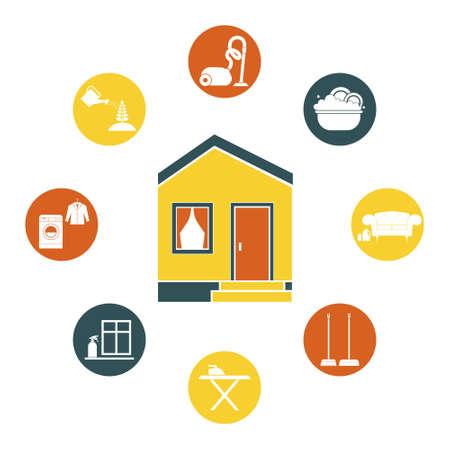 Maison Nettoyage Vecteur   Le Repassage, Lave Linge, Aspirateur, Entretien  Des Plantes