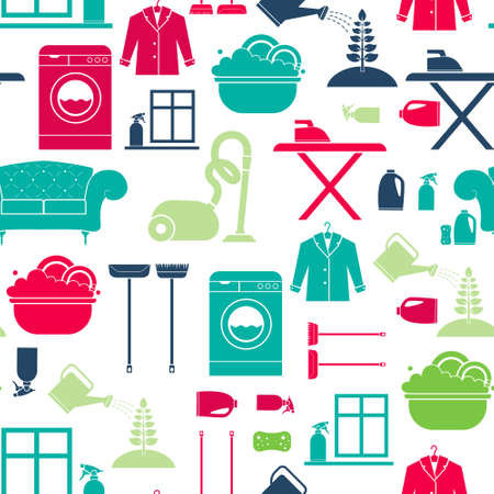 Seamless vector background with house cleaning items - washing mashine, plant care, dry clean, furniture, window cleaning. Housekeeping texture. Vector