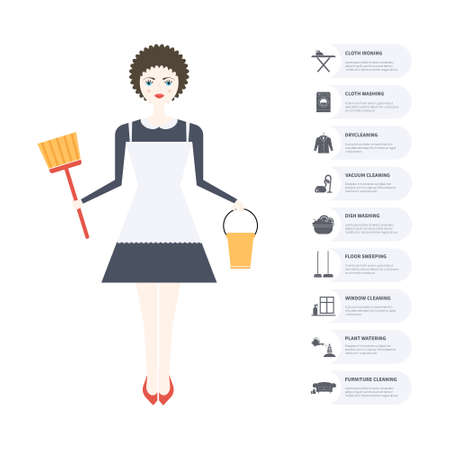 cleaning equipment: House cleaning infographic. House work concept illustration made in vector. Young pretty girl doing house work. Illustration
