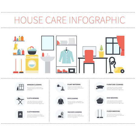 dry cleaner: House cleaning infographic made in vector