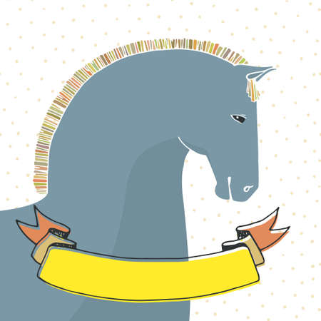 horse drawn: Artistic hand drawn horse with ribbon for your text. Perfect card template made in vector. Equine themed illustration. Illustration