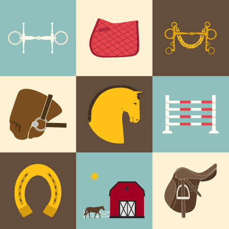 bit: Detailed set of equestrian icons. Modern flat horseriding icons, including saddle, bit, snaffle bit, stable with a fence, horse, horseshoe and an obstacle.