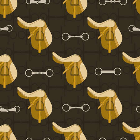 Vintage equine background with saddles and bits. Perfect equine seamless texture made in vector. Horseriding design. Horse supplies. Illustration