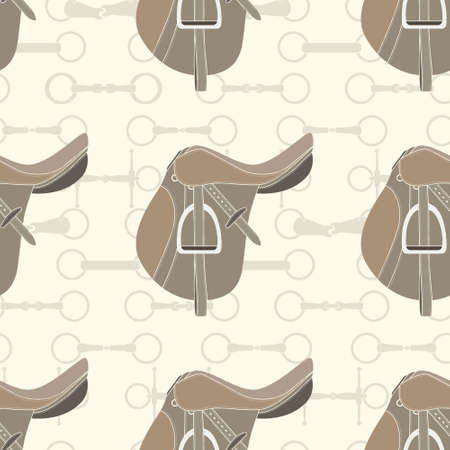 Vintage equine background with saddles and bits. Perfect equine seamless texture made in vector. Horseriding design. Horse supplies. Ilustração