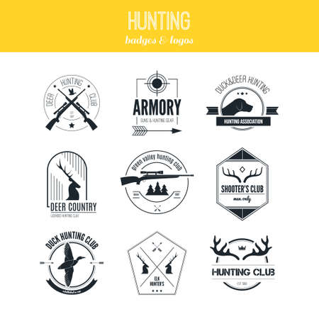 Hunting club label collecton made in vector. Shooting, prey, gun, antler, hunting dog, duck, taret, armore elements and labels design. Vector