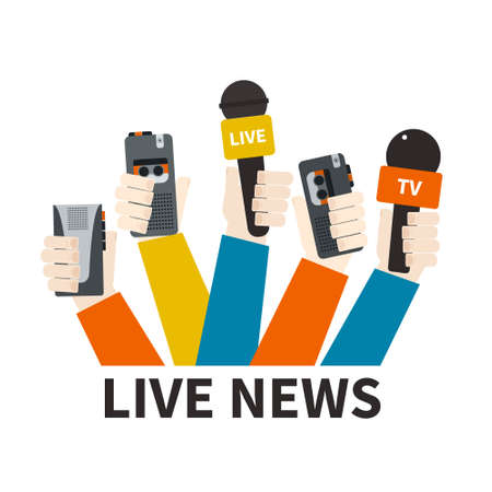 Journalism concept vector - set of hands holding microphones and voice recorders. Live news template. Press illustration. Vector