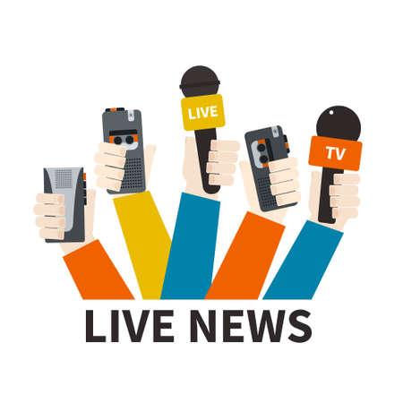 rueda de prensa: Periodismo concepto vector - conjunto de manos la celebraci�n de micr�fonos y grabadoras de voz. Plantilla noticias en vivo. Pulse ilustraci�n. Vectores
