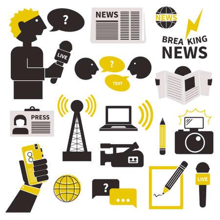 Ensemble d'icônes vecteur de journalisme. Symboles plats modernes du journalisme y compris l'ordinateur, nouvelles, journaliste, appareil photo, l'accréditation, crayon et portable. Banque d'images - 34218744