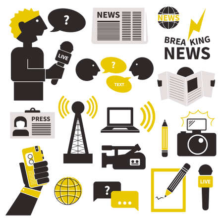 Set of vector journalism icons. Modern flat symbols of journalism including computer, news, reporter, camera, accreditation, pencil and notebook. Ilustração