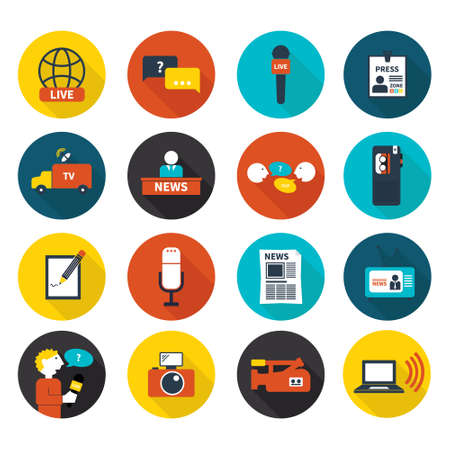 Set of vector journalism icons. Modern flat symbols of journalism including computer, news, reporter, camera, accreditation, pencil and notebook. Vector