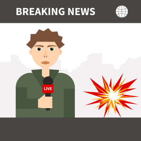 Illustration of a journalist broadcasting frome a war zone. Live news vector illustration. Vector character. Vector