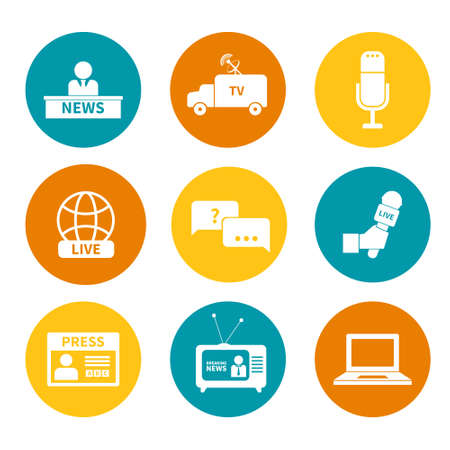 Set of vector journalism icons. Modern flat symbols of journalism including computer, news, reporter, camera, accreditation, pencil and notebook. Illustration