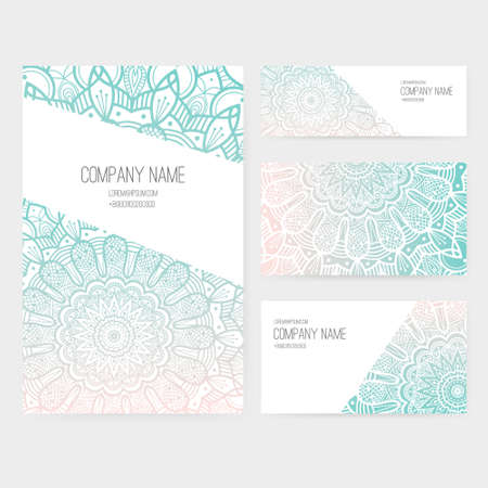 Set of business card and invitation card templates with lace ornament. Vector background. Indian, Arabic, Islam motifs. Vintage design elements. Wedding or save the date hand drawn background. Ilustrace