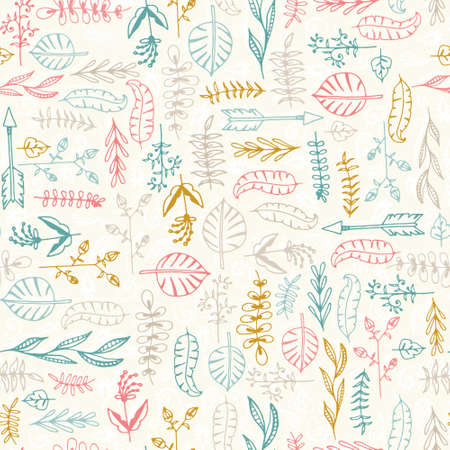 Cute seamless texture with perfect natural leaves. Hand drawn botanical background. Use this pattern for wedding invitations, wraping or as a background on your website. Vector