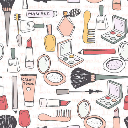 Hand drawn seamless pattern with different make up accessories - eye shadow, lipstick, mascara, brush, powder, perfume, etc. Vector beauty background.