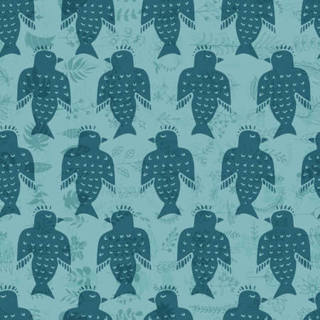 animal texture: Cute hand drawn seamless pattern with birds. Doodle vector animal texture. Illustration
