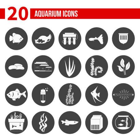 현대 평면 수족관 아이콘 - 물고기 탱크, 물고기 유형, 수족관 식물 및 장식의 집합입니다. 수족관 용품, 유지 보수, 스타터 키트 기호. 애완 동물 가게 그림입니다.