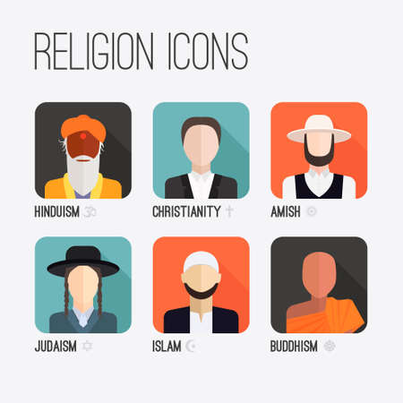 protestantism: People of different religion in traditional clothing. Islam, judaism, buddhism, christianity, hinduism, amish. Religion vector symbols and characters.