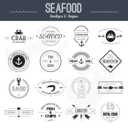 魚介類のアイコンの完全なセット。グリル、カニ、ロブスター、ベクトルは、レストランのアイコンをコレクション。シーフードのバッジ、ラベル
