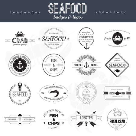 해산물 아이콘의 완벽한 세트. 그릴, 게, 새우, 레스토랑 아이콘 모음 벡터에서했다. 해산물 배지, 라벨 및 디자인 요소입니다.