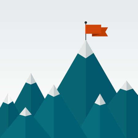 Illustrazione vettoriale di successo - cima della montagna con bandiera rossa. Illustrazione piatta di una vittoria, raggiungimento degli obiettivi, ottenere le cose fatte.