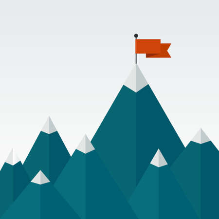 challenge: Vector illustration of success - top of the mountain with red flag. Flat illustration of a victory, goal achievement, getting things done.
