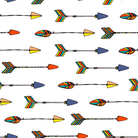 Ethnic colorful seamless pattern made in vecor. Texture with tribal indian hand drawn arrows. Native american background design. Stock Illustratie