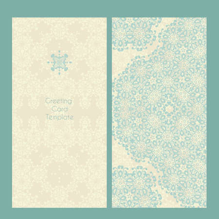 place for the text: Vector lace card in Victorian style. Ornate element for design and place for text, perfect for invitations, greeting cards, save the date and wedding cards. Illustration