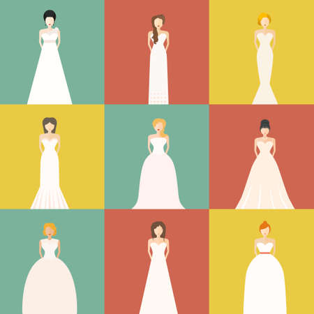 wedding dress silhouette: Brides in different styles of wedding dresses made in modern flat vector style. Choose your perfect wedding dress for your body type. Bridal vector. Illustration