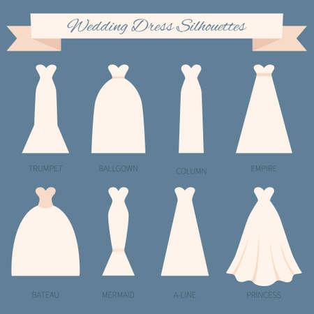 ślub: Różne style sukien ślubnych wykonanych w nowoczesnym płaskim stylu wektorowych. Wybierz idealny suknię ślubną dla swojego ciała. Wektor dla nowożeńców.