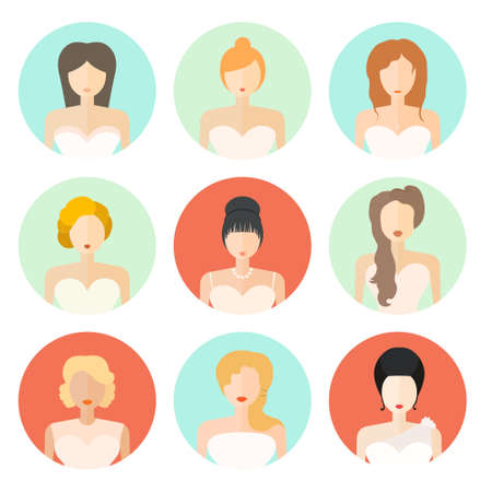 Bridal hairstyle - modern flat icons of wedding fashion. Young women with different hair cuts and hair dresses. Bridal vector. Vector