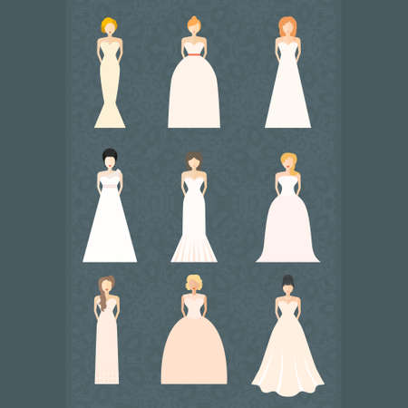 wedding celebration: Brides in different styles of wedding dresses made in modern flat vector style. Choose your perfect wedding dress for your body type. Bridal vector. Illustration