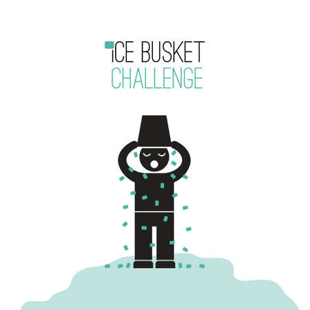 Ice Bucket Challenge - fund raising for ALS vector concept. Viral social activity. People dumping buskers of cold icy water on themselves for charity and donations. Vector