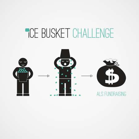 아이스 버킷 도전 - 기금 모금 벡터 개념입니다. 바이러스 성 사회 활동. 자선과 기부에 대한 자신에 찬 얼음 물 악사를 투기하는 사람들.